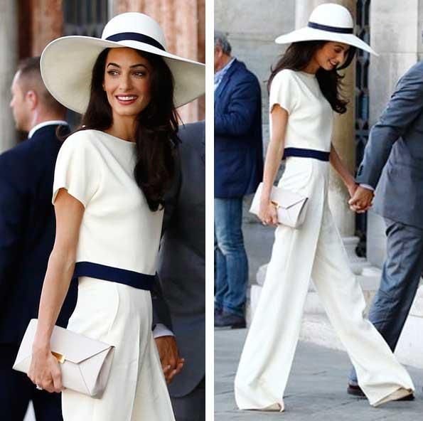 Esposa Jorge Clooney, casamento civil macacão