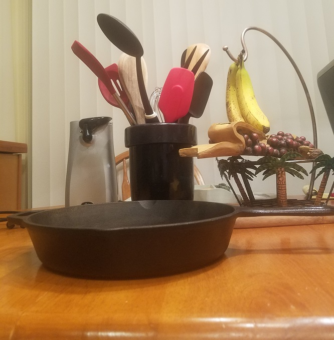 This is a cast iron skillet used by my grandmother back in the 1960s