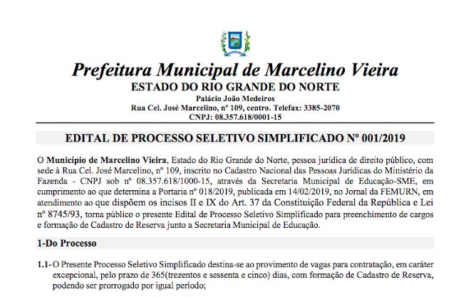 Marcelino Vieira RN: Inscrições do processo seletivo seguem até sexta feira (1)