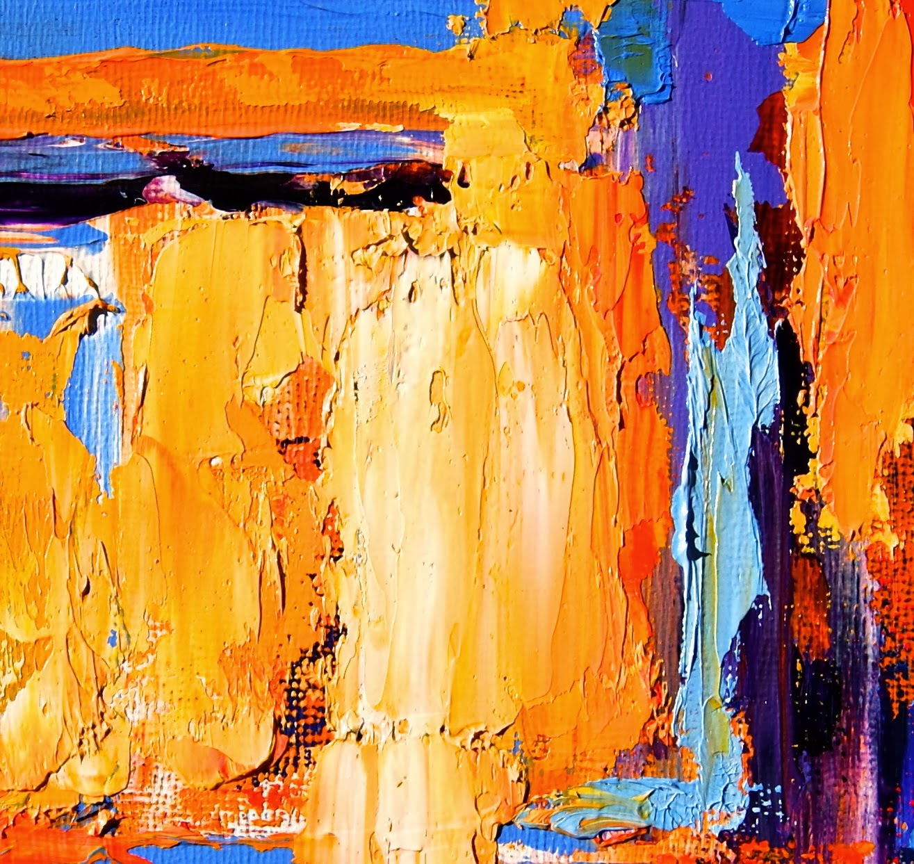 Colorful Southwestern Art Textured Abstract Oil Painting In