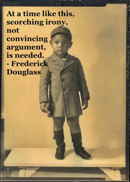 Photo of a young black child in Sunday best. Scorching quote by Fredrick Douglass. Other stories of Racism and Civil Rights. Mr. Douglass has more to say.  marchmatron.com