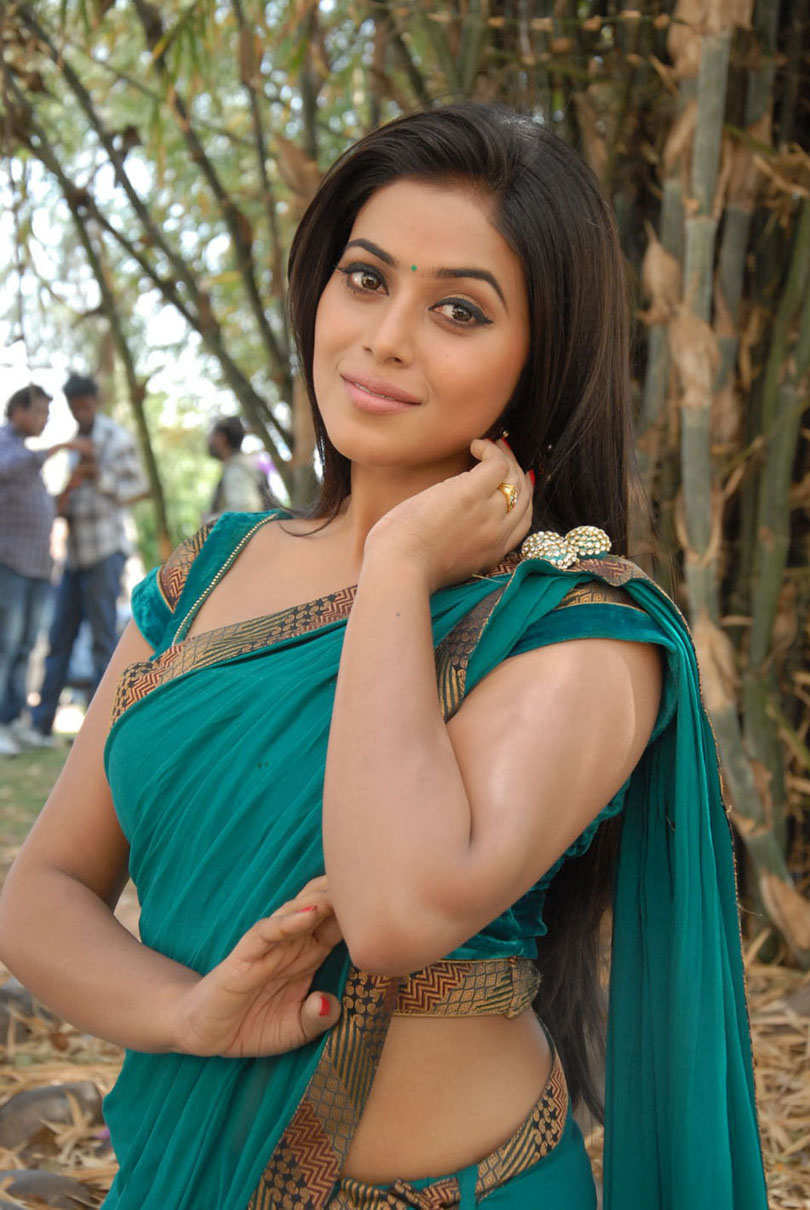 Tollywood Actress Poorna Hip Navel In Green Saree