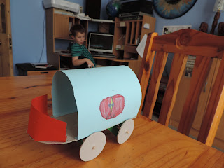 paper and card school project roman chariot wagon