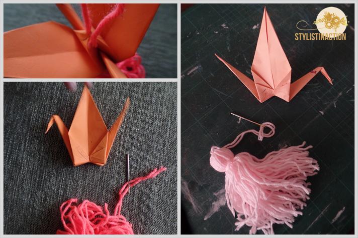 DIY Grullas y borlas - como unir las dos cosas