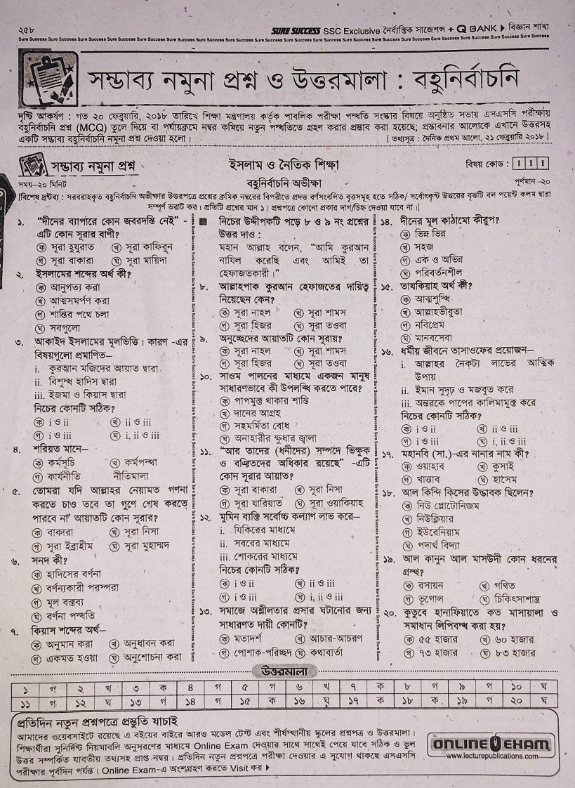SSC Islam and Moral Education MCQ Model Question