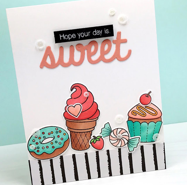 Sunny Studio Stamps: Sweet Shoppe Donut, Ice Cream and Cupcake card by Melissa Bickford