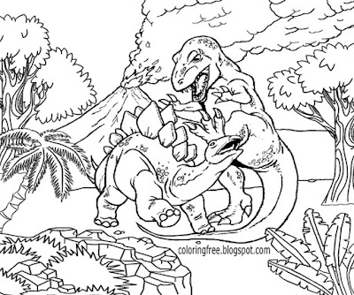 Lost land of volcanic eruptions stegosaurus dinosaurs herbivores and T Rex dinosaur coloring pages