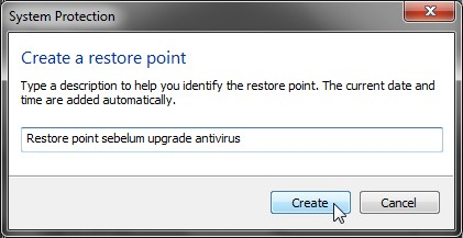 System Restore Point di Windows 7