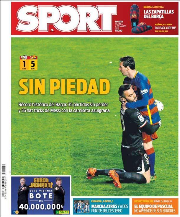Portada del periódico Sport, viernes 4 de marzo de 2016