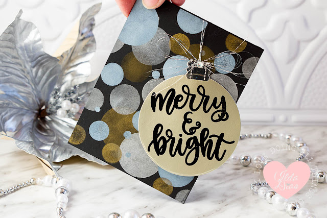 Merry and Bright Suspended Swing Ornament Card on a Bokeh Background ft MFT's Handwritten Holiday Stamps