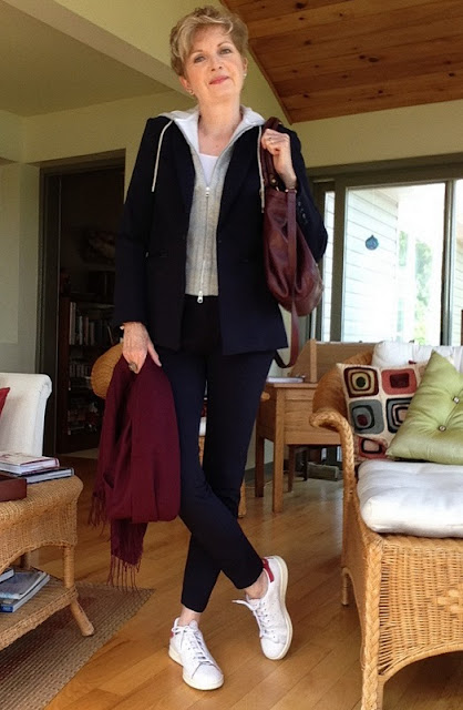 Veronica Beard jacket and pants, Nordstrom scarf, Stan Smith Adidas, Marc Jacobs bag