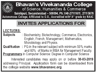 Bhavan's Vivekananda College of Science Humanities and Commerce, Secunderabad Recruitment Lecturers / Programmers Jobs