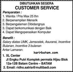 Lowongan Kerja Customer Service Batam Centre Lowongan Kerja
