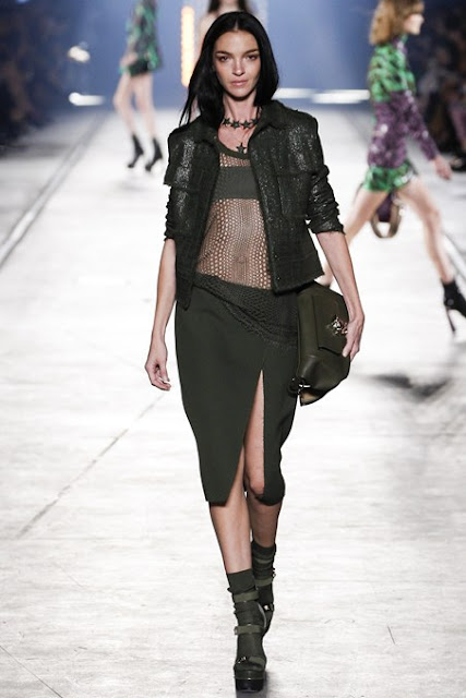 Versace S/S 2016 MFW military khaki green mesh, skirt and jacket