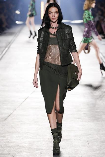 Versace S/S 2016 MFW military khaki green mesh, skirt and jacket