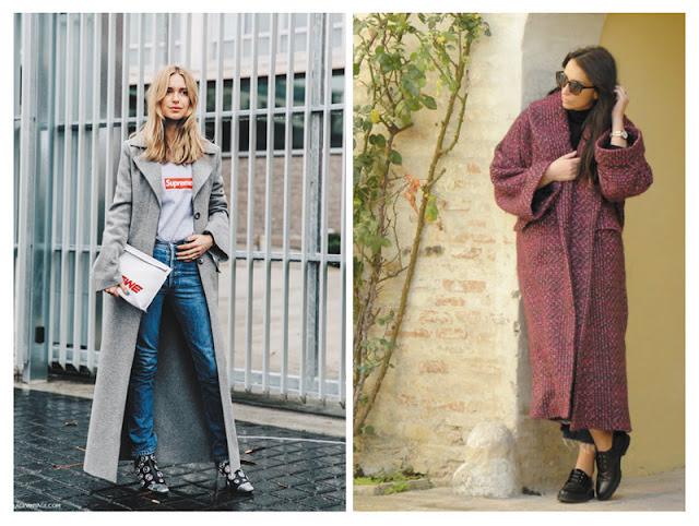 Длинные пальто с джинсами образы с улицы