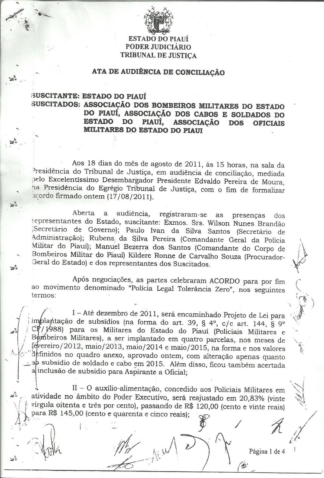 RABULA MILITAR PM: ATA DE AUDIÊNCIA DE CONCILIAÇÃO DO TJ