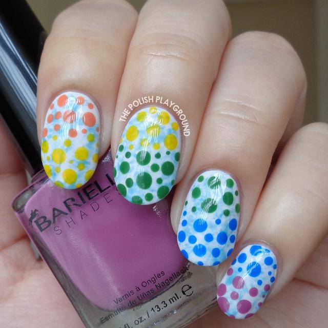 Blue Saran Wrap with Rainbow Dotticure Nail Art