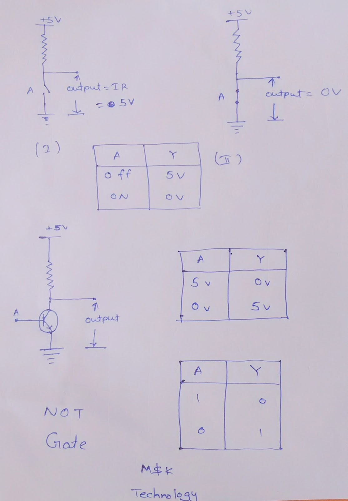 similarly not gate is also made from transistors fig 3 shows the circuit for a not gate using a switch  [ 1114 x 1600 Pixel ]
