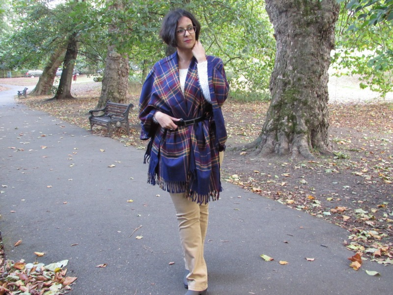 How to style a blanket scarf as a cardigan