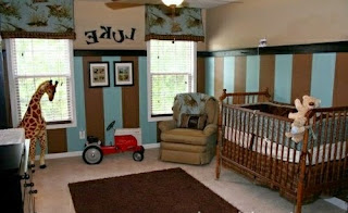 Cuarto bebé beige marrón celeste