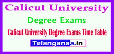Calicut University Degree Exams Time Table