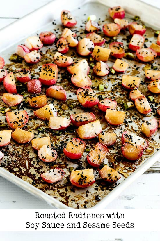 Roasted Radishes with Soy Sauce and Sesame Seeds found on KalynsKitchen.com