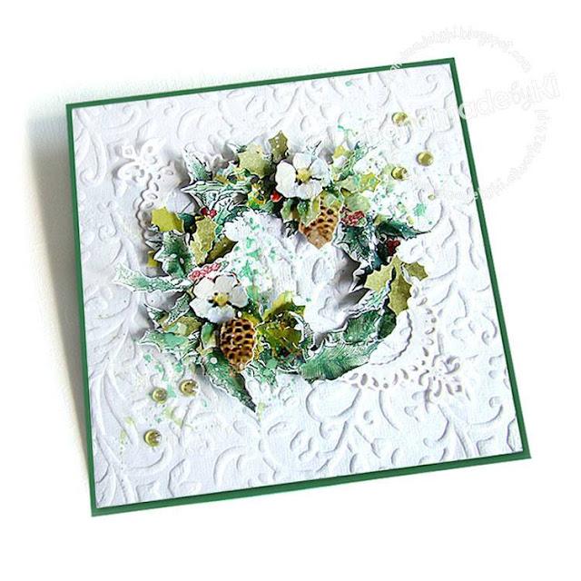 kartka bożonarodzeniowa z motywem ostrokrzewu