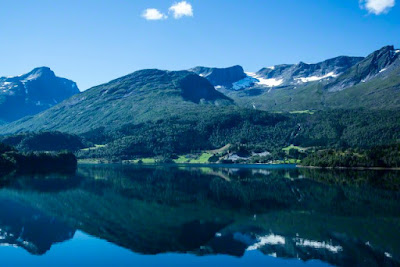 Norway, Alesund, landscape with fjord