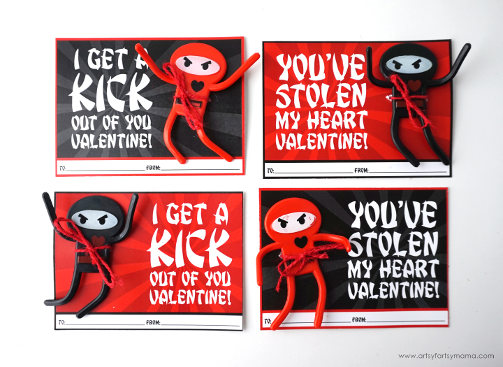These Free Printable Ninja Valentines are perfect to share with classmates or friends this Valentine's Day!