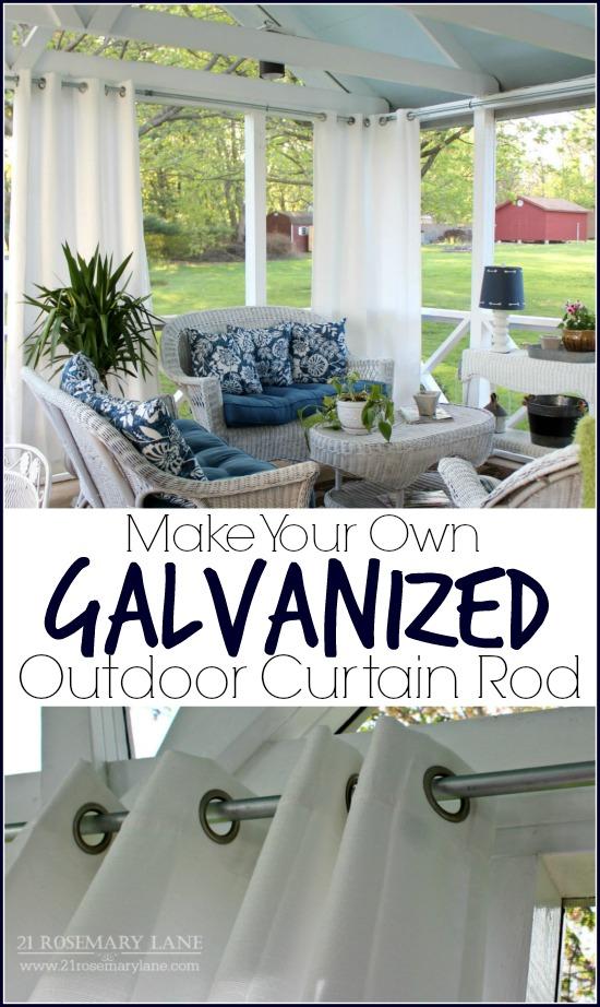 easy diy galvanized outdoor curtain rod