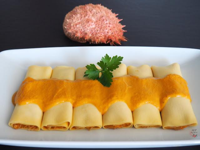 Crepes de txangurro o centollo con salsa americana, nueva cocina vasca