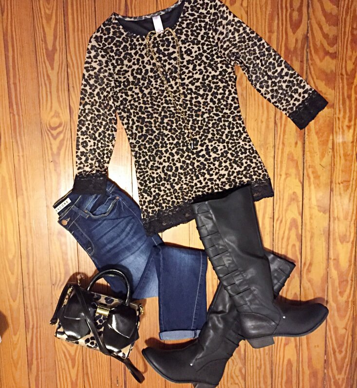 mesh leopard shirt outfit of the day