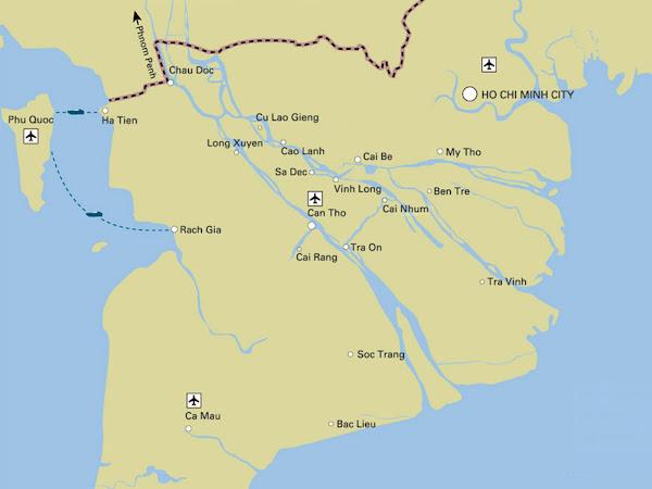 Mapa del Delta del Mekong