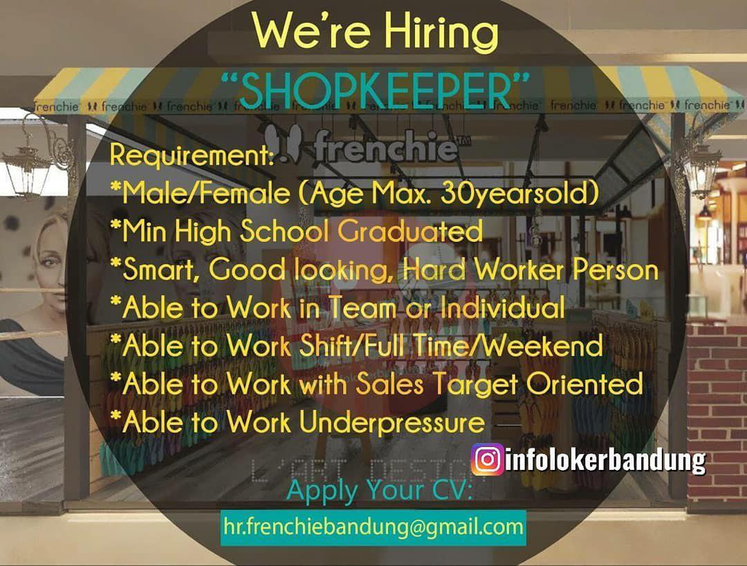 Lowongan Kerja Shopkeeper Frenchie Bandung Mei 2019