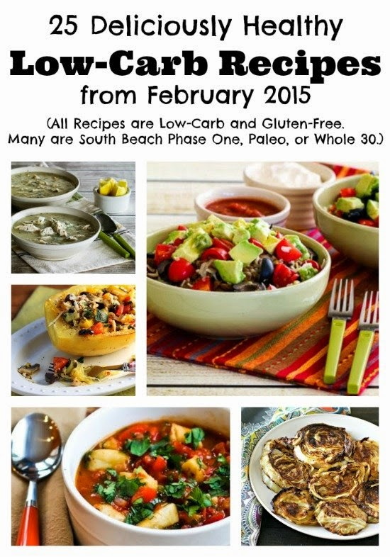 25 Deliciously Healthy Low-Carb Recipes from February 2015 featured on KalynsKitchen.com