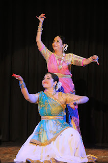 Artists Shruti Gupta Chandra and Artist Supriya Sathe performing an invocatory item Ganga Stuti.