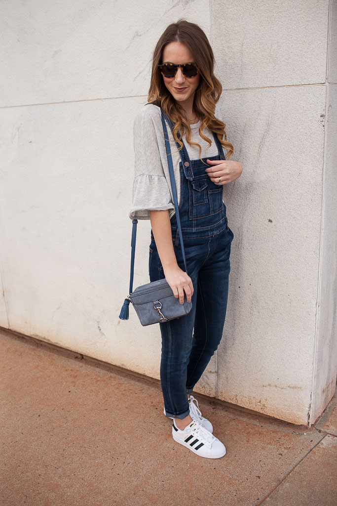 Overalls and a ruffle tee