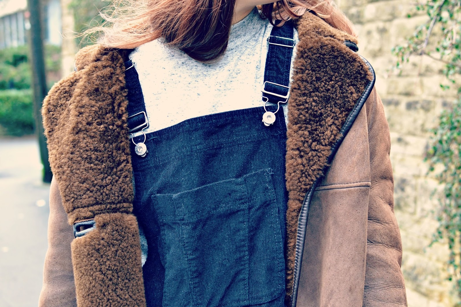 vintage sheepskin coat, dungaree dress,