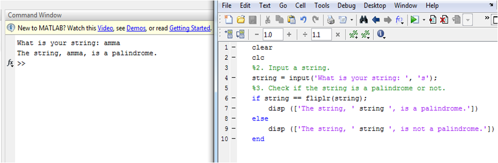Write a MATLAB program for check given string is palindrome or not