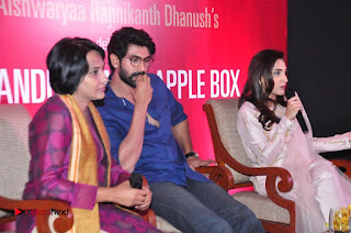 Aiswarya Rajinikanth Dhanush Standing on an Apple Box Launch Stills in Hyderabad  0075.jpg