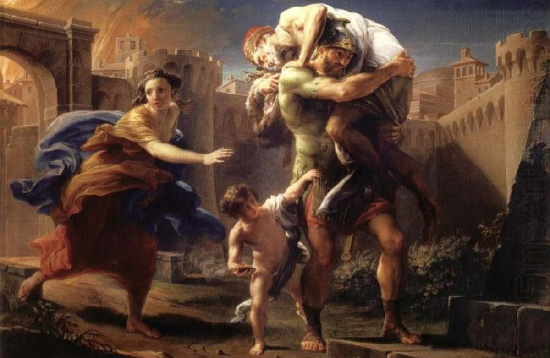 """Aeneas fleeing from Troy"" by Pompeo Batoni (ca. 1750)"