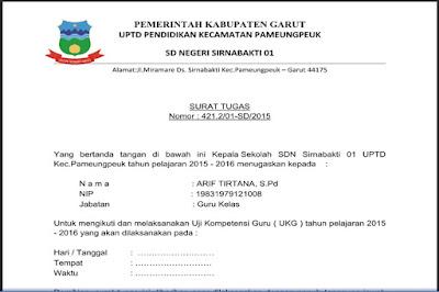 Unduh File Contoh Surat Tugas UKG 2015