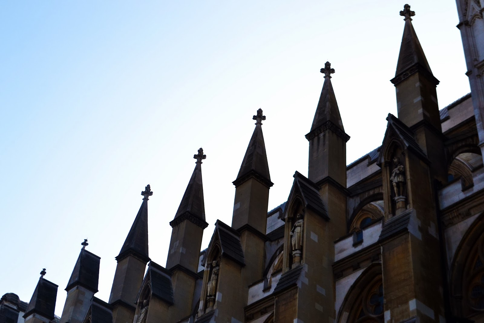 small spires running along the top of Westminster Abbey