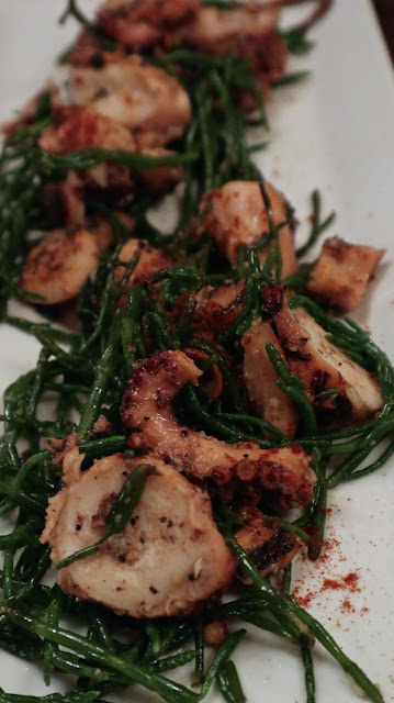 octopus with grilled sea asparagus