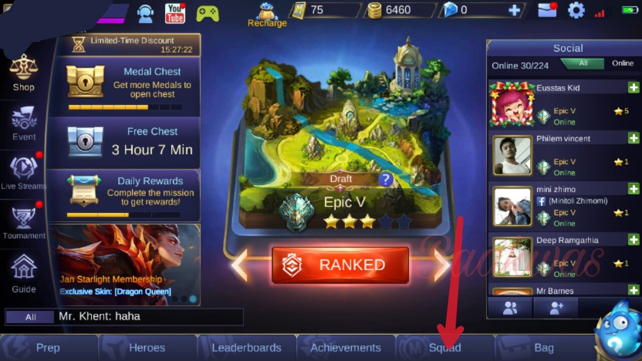 How to create squad in mobile legend game