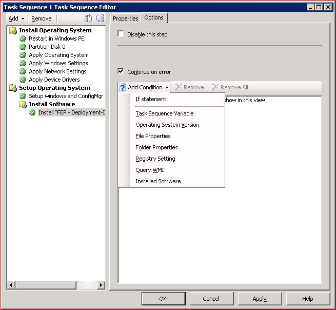 blog by Tom Fritsche: ConfigMgr Task Sequence: Add a WMI