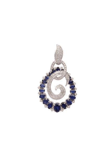 Contemporary Earrings curated in 18K white gold, studded with extravaganza of fine-cut diamonds mingling with blue sapphire by Tanya Rastogi for Lala Jugal Kishore Jewellers-