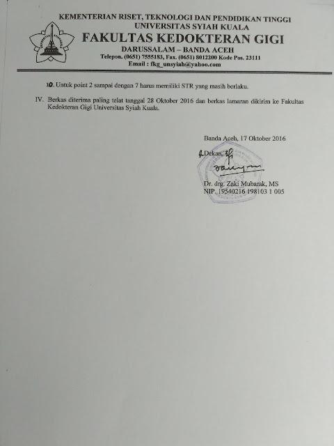 Penerimaan Tenaga Kontrak Fakultas Kedokteran Gigi Universitas Syiah Kuala