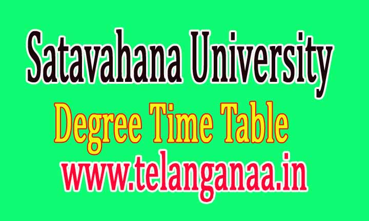 Satavahana University Degree Supply Time Table 2016 Download